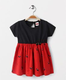 Babyhug Half Sleeves Frock Bow Applique - Black Red