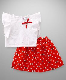 Peppermint Flutter Sleeves Top & Skirt Set Bow Print - Red White
