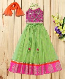 Twisha Zardosi Embroidered Tie Up Blouse & Net Lehanga With Dupatta - Lime Green