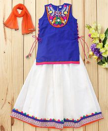 Twisha Side Tie Up Long Kurta & Lehenga With Dupatta - Royal Blue