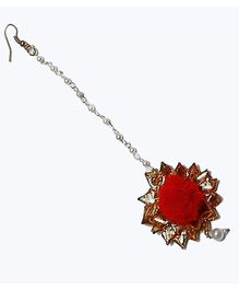 D'chica Traditional Chic Maang Tikka Jewellery - Red