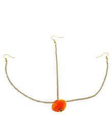 D'chica Cute Little Pom Pom Headgear Maang Teeka - Orange