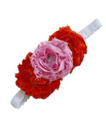 D'Chica Frilled Beaded Headband For Girls - Orange And Pink
