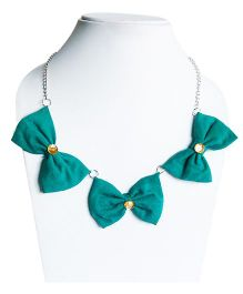 D'Chica Bow With Daimond Studded Chain Jewelry - Green