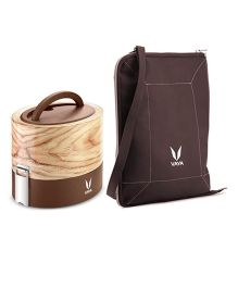 Vaya Insulated Lunch Box With Bag Maple Design - Brown
