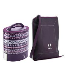 Vaya Insulated Lunch Box With Bag Wool Design - Brown
