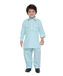 AJ Dezines Full Sleeves Pathani Suit - Sky Blue