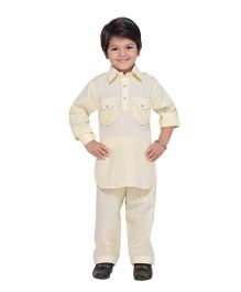 AJ Dezines Full Sleeves Pathani Suit - Fawn