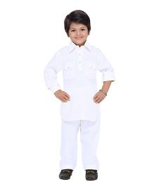 AJ Dezines Full Sleeves Pathani Suit - White
