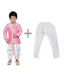 AJ Dezines Full Sleeves Silk Blend Sherwani Dhoti And Pyjama Set - Pink