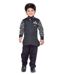 AJ Dezines Full Sleeves Pathani Suit Set - Black