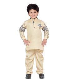 AJ Dezines Full Sleeves Pathani Suit Set - Fawn