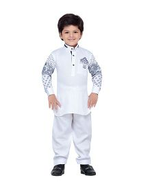 AJ Dezines Full Sleeves Pathani Suit Set - White