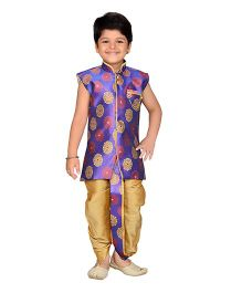 AJ Dezines Sleeveless Angrakha and Dhoti Set - Purple And Golden