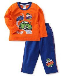 Tango Full Sleeves T-Shirt & Pajama Set Car Print - Orange & Blue