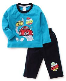 Tango Full Sleeves T-Shirt & Pajama Set Car Print - Blue & Black
