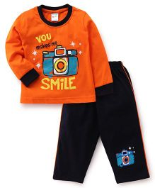 Tango Full Sleeves T-Shirt & Pajama Set Camera Print - Orange Black
