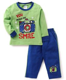 Tango Full Sleeves T-Shirt & Pajama Set Camera Print - Green Blue