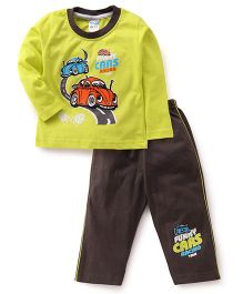 Tango Full Sleeves T-Shirt & Pajama Set Car Print - Green & Brown