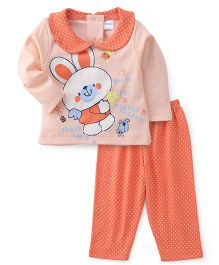Tango  Full Sleeves Night Suit Bunny Print - Peach