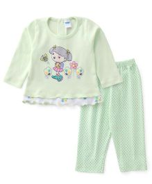 Tango Full Sleeves Printed Night Suit - Green