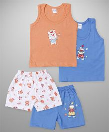 Tango Sleeveless T-Shirts And Shorts Set of 2 - Orange Blue White