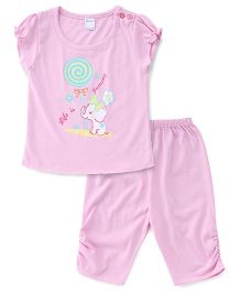 Tango Capri Night Suit Elephant Print - Pink