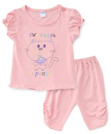 Tango Capri Night Suit Elephant Print - Peach