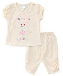 Tango Capri Night Suit Elephant Print - Light Yellow