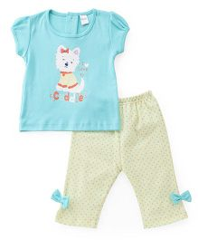 Tango Short Sleeves Capri Night Suit Cuddle Print - Aqua Blue