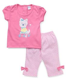 Tango Short Sleeves Capri Night Suit Cuddle Print - Pink