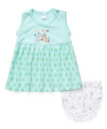 Tango Sleeveless Frock With Bloomer Bird & Floral Print - Green
