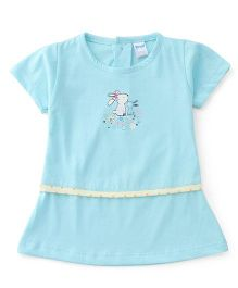 Tango Half Sleeves Frock Little Friends Print - Aqua Blue