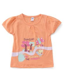 Tango Half Sleeves Tee Forest Print - Peach