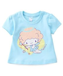 Tango Half Sleeves Tee Angel Print - Blue