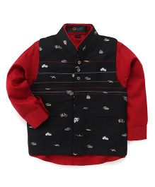 Robo Fry Full Sleeves Shirt With Waistcoat - Black Red