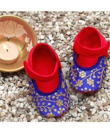D'chica Exquisitely Handcrafted Booties For Baby Girls - Blue & Fuschia