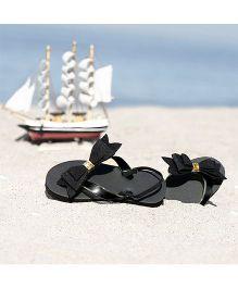 D'chicaBlingy Bow Applique Flip Flops - Black