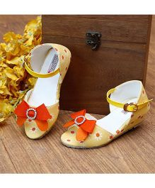 D'Chica Sunflower With Bow Applique Wedges Heel Peep Toes - Yellow & Orange