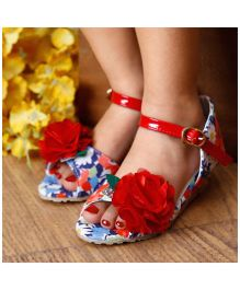 D'Chica Floral Peep Toes With Wedge Heel - Blue & Red