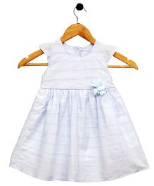 Bella Moda Embroidered Dress With Back Buttons - Light Blue