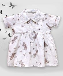 Bella Moda Butterfly Embroidered Shirt Style Dress - Off White