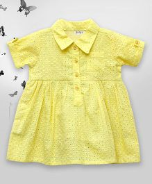Bella Moda Cutwork Design Shirt Style Dress With Front Pocket - Yellow