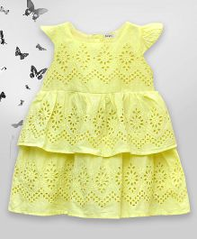 Bella Moda Cutwork Design Layered Dress With Cap Sleeves - Yellow