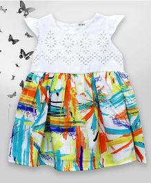 Bella Moda Cutwork Design Dress With Back Button Closure - Multicolor