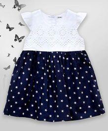 Bella Moda Star Print Dress With Cutwork On Yoke - Navy Blue