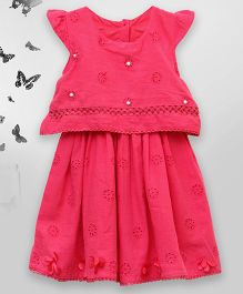 Bella Moda Double Layered Dress With Pearl Work - Pink