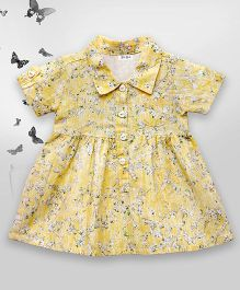 Bella Moda Printed Embroidered Shirt Style Dress - Yellow
