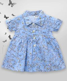 Bella Moda Printed Embroidered Shirt Style Dress - Blue
