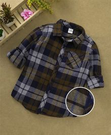Babyhug Full Sleeves Checks Shirt - Mustard & Navy